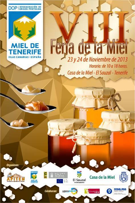 Cartel de la VIII feria de la miel organizada por la Casa de la Miel en El Sauzal (Tenerife) 2013